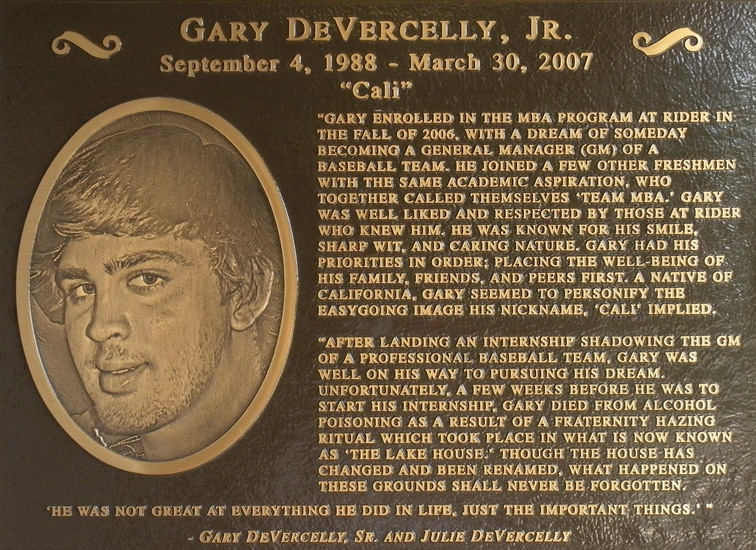 Plaque posted at 'The Lake House' in memory of Gary DeVercelly Jr.